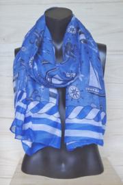 Blauwe sjaal met nautische afbeeldingen