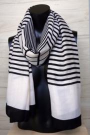 sjaal zwart wit strepen