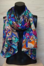sjaal blauw-multicolor poezenprint