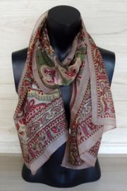 zijden sjaal leverkleur met bloemmotief