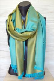 zijden sjaal reversible aquablauw/goud