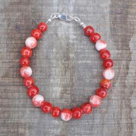 Armband van oranje jade en bamboe koraal