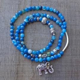 Armband blauw agaat en kristal