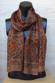 zijden sjaal multicolor bruin