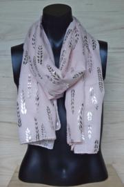 sjaal zacht roze met metallic print