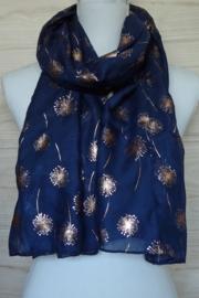 sjaal donkerblauw met rose gouden print