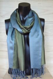 Zijden sjaal mosgroen/ijsblauw