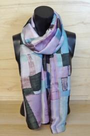 zijden sjaal met onregelmatig blokpatroon
