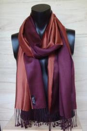 Zijden sjaal steenrood/wijnrood