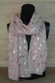 Sjaal roze met  vlindertjes