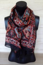 zijden sjaal zwart met print
