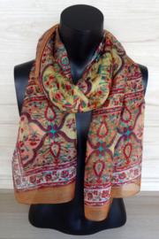 zijden sjaal oker met olifantjes