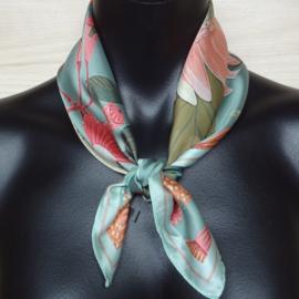 sjaaltje, bandana, bloemen zeegroen