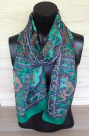 zijden sjaal groen met olifantjes
