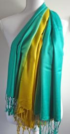 Sjaal in groen-blauw en geel