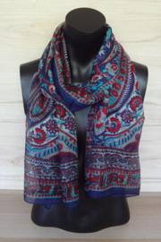 zijden sjaal donkerblauw met bloemmotief