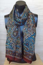 zijden sjaal multicolor roodbruin