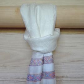 sjaal wit met ingeweven randen