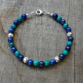 Armband lapis lazuli en chrysocolla