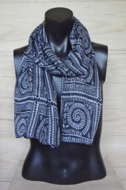 sjaal zwart met witte figuurtjes