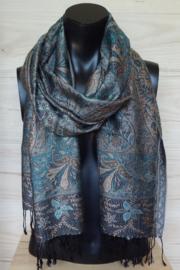 sjaal bruin aquablauw paisley