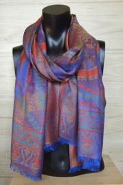sjaal koningsblauw paars rood