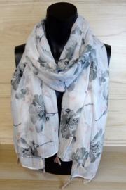 Sjaal met grijze bloemen