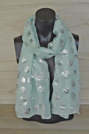 Sjaal mintgroen met schelpen