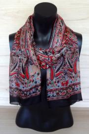 zijden sjaal zwart met paisley dessin en olifantjes