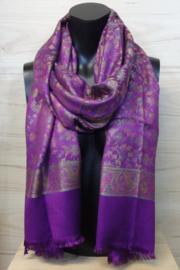 zijden sjaal multicolor/ paars