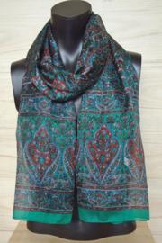 zijden sjaal groen met bloemen