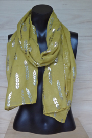 sjaal oker met metallic print
