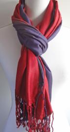 Sjaal in aubergine en wijnrood