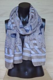 sjaal beige met nautische afbeeldingen