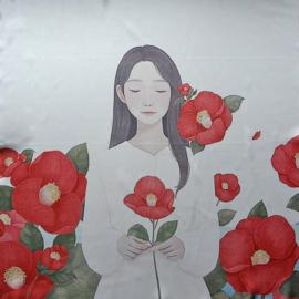 sjaaltje, bandana, meisje met bloemen