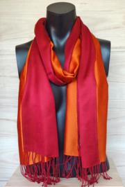 Zijden sjaal oranje/rood