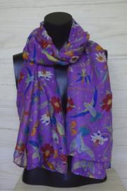 sjaal paars met kolibries