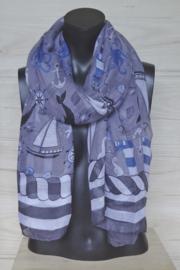 sjaal paars grijs met nautische afbeeldingen