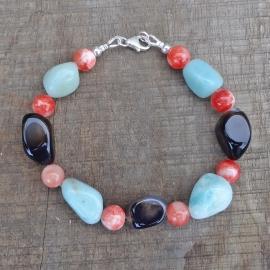 Armband van onyx, amazoniet en oranje jade