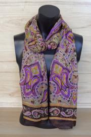 zijden sjaal in bruin en paars paisley dessin