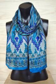 zijden sjaal aqua blauw met print