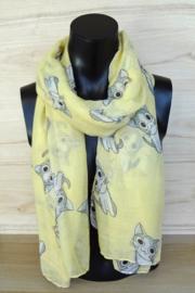 Sjaal geel met katjes