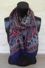 sjaal donkerblauw met paisley bloemdessin