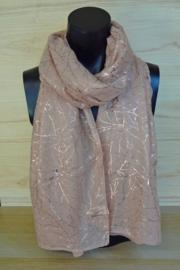 Sjaal oud roze met blad
