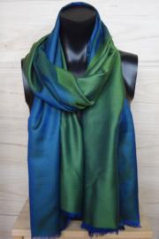 zijden sjaal reversible groen/blauw