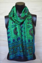 zijden sjaal grasgroen met bladmotief