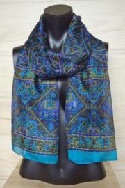 zijden sjaal blauw met olifanten