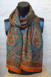 zijden sjaal multicolr oranje