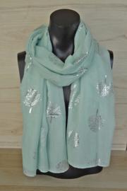 Sjaal mintgroen met boompjes