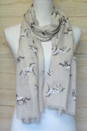 sjaal beige met paardenprint